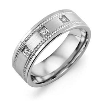 7mm White Gold 10K White Gold 0.06tcw Diamond Wedding Band