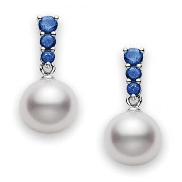 MIKIMOTO 18k White Gold 8mm Pearl Earrings with Blue Sapphire