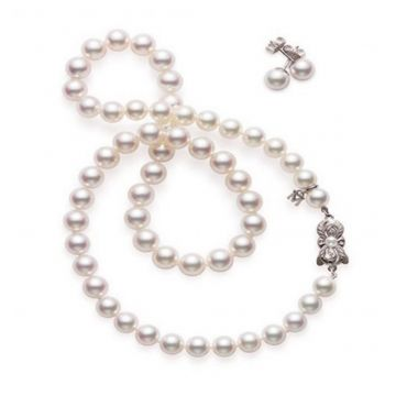 "MIKIMOTO 18k White Gold Akoya Pearl Set 18"" Necklace and Studs"