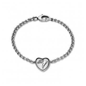 Gucci Sterling Silver Flora Charms Heart Necklace