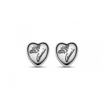 Gucci Sterling Silver Flora Charms Heart Stud Earrings