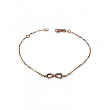 Zeghani 14k Rose Gold and Diamond Infinity Bracelet