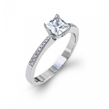 Zeghani 14k White Gold Classic Beauty Diamond Engagement Ring