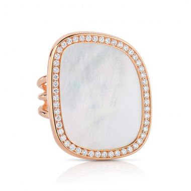 Roberto Coin Diamond Halo with Mother of Pearl Center Ring