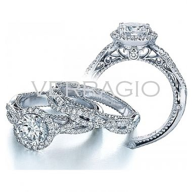 Verragio Venetian Collection Pave Diamond Engagement Ring With Halo AFN-5005R