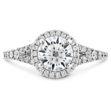 Hearts on Fire Platinum Split Shank Halo Engagement Ring